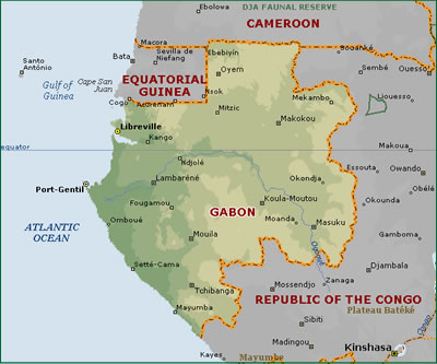 Map of Gabon, West Africa